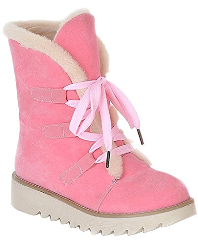 Warme Winter Flache Pelz Minetom Herbst Stiefel Mittlere Schnee Rosa Stiefel Frauen Waden Martin Schnürschuhe Stiefel EAw0q
