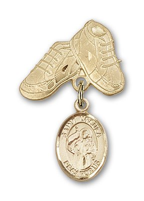 ReligiousObsession's 14K Gold Baby Badge with St. Ursula Charm and Baby Boots Pin