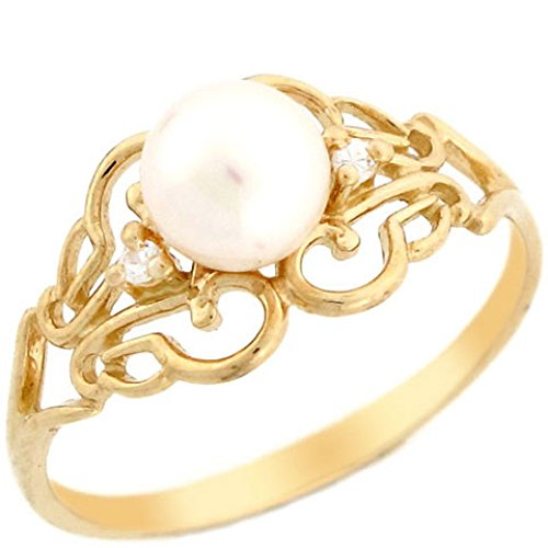 (14k Solid Yellow Gold Freshwater Cultured Pearl & CZ Filigree Every Day Ring)