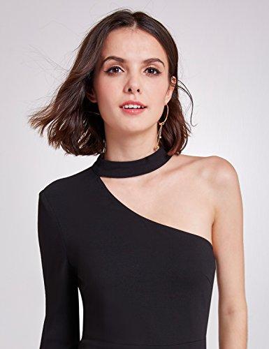 As05940 senza Dress nero con elegante Alisapan sexy stile Sleeve asimmetrica elegante cavezza Single spalline e YqxTZa