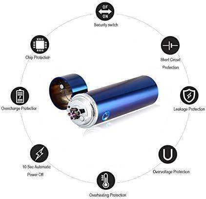 Rechargeable par USB Triple Arc 6 Croix Briquet /électrique r/ésistant au Vent Briquet sans Flamme pour Outil dext/érieur