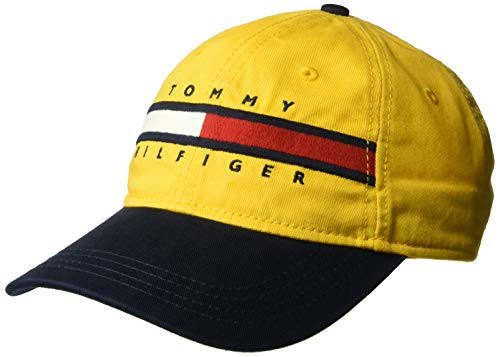 Tommy Hilfiger Men's Dad Hat Avery, Golden Glow/Navy Blazer, O/S from Tommy Hilfiger