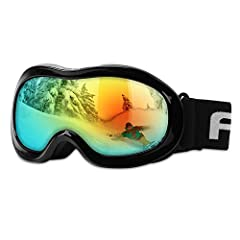 AKASO Kids Youth Snow Goggles for Skiing Snowboarding and Mountaineering: Safe TPU Frame Double-layer Spherical REVO Lenses Anti-fog Coating 100% UV Protection Helmet Compatible