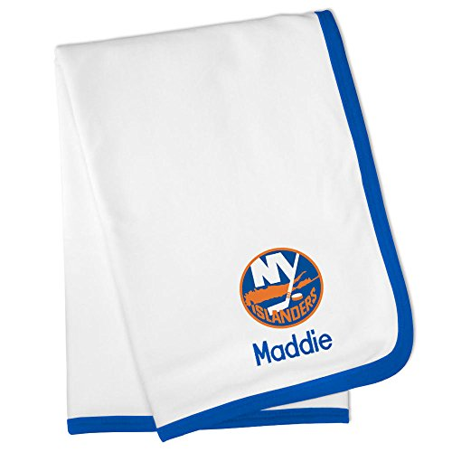 Personalized New York Islanders Baby Blanket (Officially Licensed) Ultra Soft, Warm Comfort | Receiving Swaddle for Newborn Boy or Girl | Portable, Stroller Friendly ()