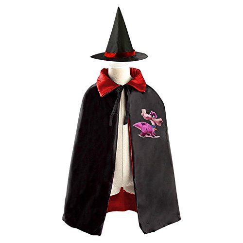 3 Person Matching Costumes (Pink Dinosaur Bite a Bone Deluxe Unisex Kids Halloween Reversible Costumes Cloak Cape With Witch Hat)