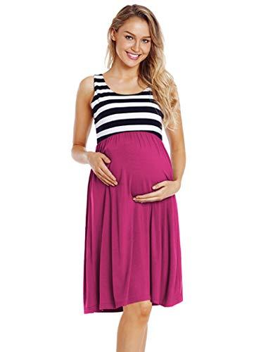 Ecavus Womens Maternity Tank Dress Stripe Color Block Sleeveless Knee Length for Baby -