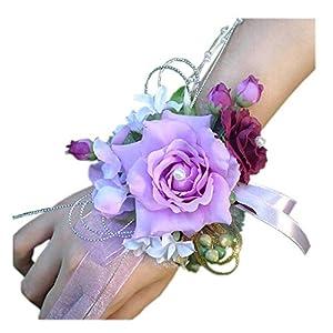 Arlai Bridal Wrist Corsage Wedding Party Artificial Flower Bridesmaid Brooch Wedding Bouquet Decoration Pack of 1 Purple 12