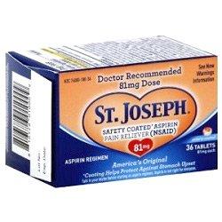 St Joseph Aspirin Safety Coated 81mg 36 Tablet (2 Pack)