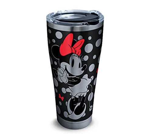 Tervis 1290862 Disney-Minnie Mouse Tumbler with Clear and Black Hammer Lid, 30 oz Stainless Steel, Silver