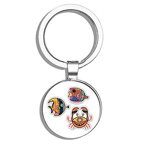HJ Media Cute Crab and Tropical Fish SetMetal Round Metal Key Chain Keychain Ring (Tropical Fish Keychain)