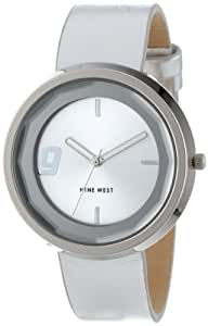 Nine West Women's NW/1357SVSV Round Silver-Tone Strap Faceted Crystal Watch