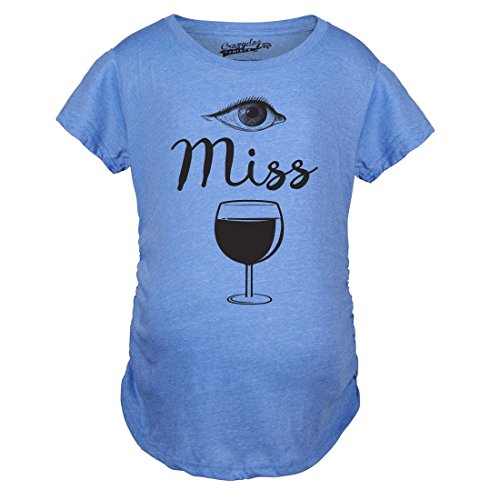 Crazy Dog TShirts - Maternity Eye Miss Wine Funny Pregnancy Announcement Baby Drinking T shirt (Blue) L - damen - L