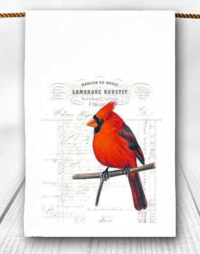 Cottage Towel - Cardinal Red Bird Tea Towel