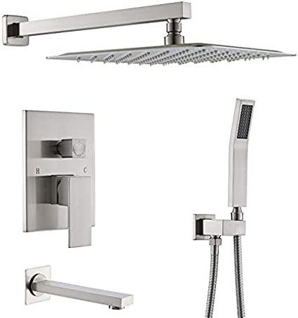 Starbath Shower System With Tub Spout 10 Inch Bathroom Wall Mounted Shower Faucet Set With Rain Shower Head Contain Shower Faucet Rough In Mixer Valve Brushed Nickel