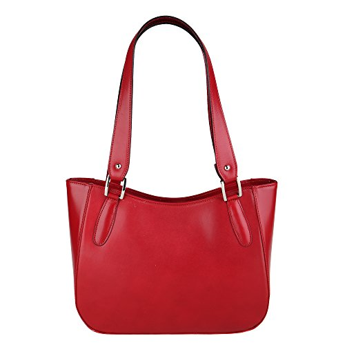 Chicca Sac Italie femme Borse 34x23x10 en Rouge à véritable cuir Cm en bandoulière Fabriqué r4rwqWv5