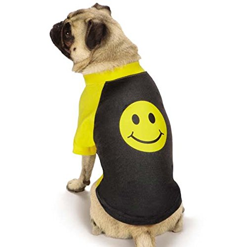 Casual Canine Smiley Face Raglan Tee, Large, Black ()