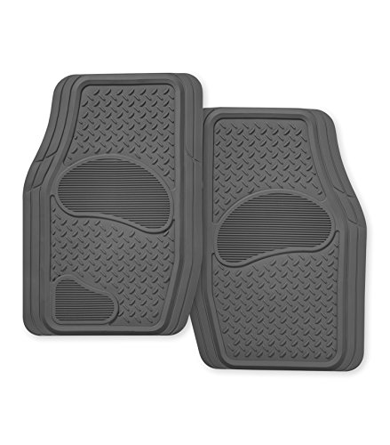 Kraco R2102GRY Grey Rubber Truck & SUV Mat Set - 2 Piece