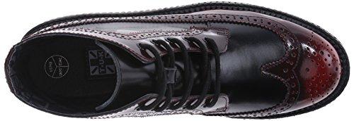 T.U.K. Shoes Mens Womens Burgundy Rub-Off Black Brogue Viva Creeper Boot Red