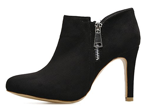 Aisun Damen Elegant Spitz Zehen Reißverschluss Knöchelhoch Kurzschaft Trichterabsatz Stiefelette Schwarz