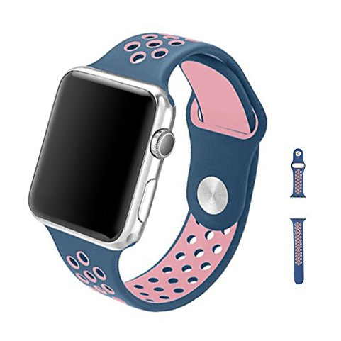 Price comparison product image 1stKing Soft Silicone Replacement Band for Apple Watch Series 3, Series 2, Series 1, Sport, Edition (Dusk Blue/Pink, 38mm, S/M)