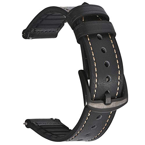 (BEAFIRY 22mm Watch Band Genuine Leather Silicone Rubber Hybrid Watch Straps Sweatproof Quick Release Spring Bar Watchband Black Black)