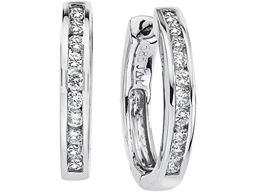 14k White Gold Oval Secure Lock Hoops (.44 - Tension Earrings Diamond Set