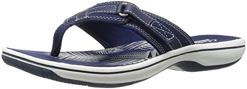 Clarks Women's Breeze Sea Flip Flop, New Navy Synthetic, 9 B(M) US