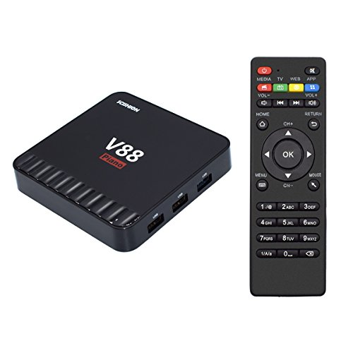 YAGALA V88 Piano Android TV BOX 4GB RAM/16GB ROM Android 7.1 Quad Core Rockchip RK3328 TV Box with 4K Wifi 2.4GHz HDMI DLNA 3D H.265