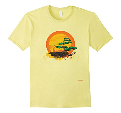 Mens Bonsai Tree Japan Premium T-Shirt Unique Gift for Yoga Lover Medium Lemon by Bonsai Tree T Shirt