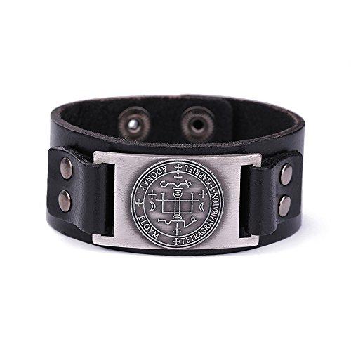 Lemegeton The Sigil of Archangel Gabriel Leather Bracelet for Men Amulet Cuff Wristband Bangle (black and antique silver) ()