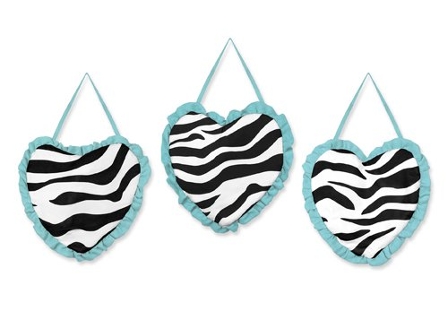 (Turquoise Funky Zebra Wall Hanging Accessories by Sweet Jojo Designs )