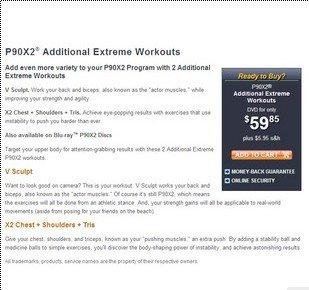 Additional Extreme Workouts P90x2 Additional 2 Disks X2