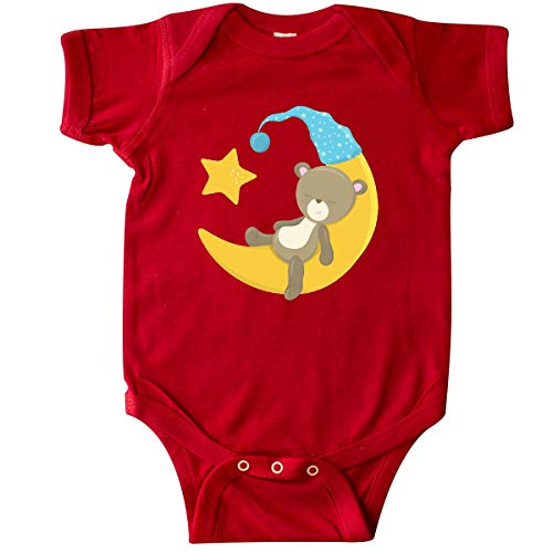 inktastic Baby Bear Sleeping on The Moon, Cute Bear, Infant Creeper 6 Months Red