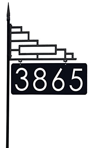 Decorative Sign Posts - Extra Large Contemporary Reflective 911 Yard Address Sign - 6
