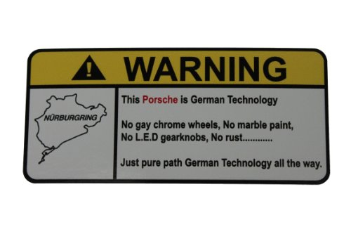 Techart 996 Turbo (Porsche Pure German Technology, Warning decal, sticker)