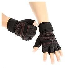 Unisex Half Finger Gloves - SODIAL(R)Unisex Sports Fitness Exercise Training Gym Half Finger Gloves Wrist Wrap for Men Women Sweat Absorption Friction Resistance, Black M