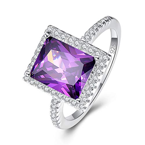 Narica Women's 925 Sterling Silver Filled Radiant Cut Amethyst Engagement Wedding Rings Band Size 6
