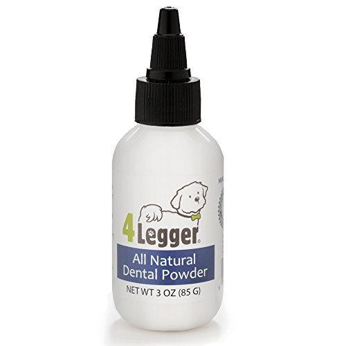 4-Legger All Natural Dental Powder - Mint Fresh with Peppermint Essential Oil - Holistic Oral Hygiene Care - Safer than Traditional Dog Toothpaste for Plaque and Tartar Control - USA - 3 oz