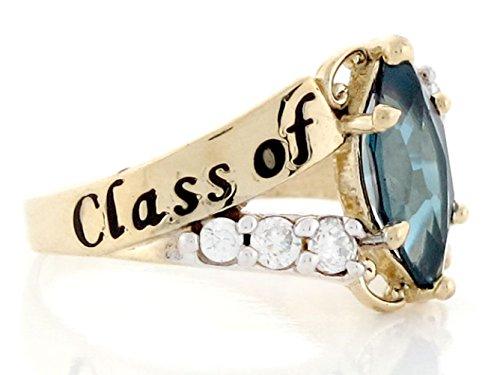 10k Gold Simulated Blue Zircon December Birthstone 2018 Class Graduation Ring