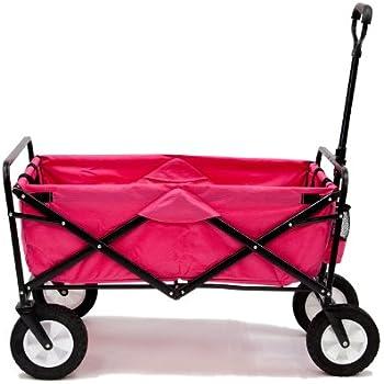 Pink Mac Sports Collapsible Folding Utility Wagon Garden Cart Shopping Beach