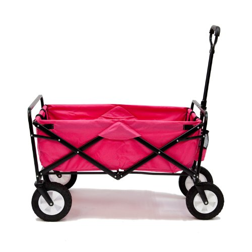 Pink Mac Sports Collapsible Folding Utility Wagon Garden Cart Shopping Beach