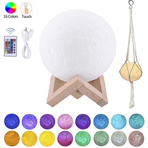 Moon Light Moon Lamps 16 Color Change Touch and Remote Control for Kids Gift Girl 3D Printed Night Light White Lunar Lamp Christmas Gift (5.9 Inch Moon Light with Wood Base + Rope Hanger)