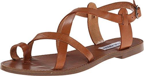 Steve Madden Women's Agathist Gladiator Sandal, Cognac Leather, 7.5 M US (Leather Sandals Brown)