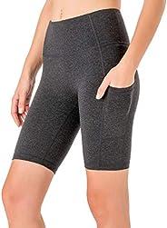 """NAVISKIN Women's 8"""" High Waist Home Workout Yoga Shorts Running Shorts Sid"""