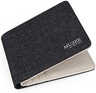 Muzee Men's Canvas Leather Wallet Small Bifold Card Holder Billfold with ID Window