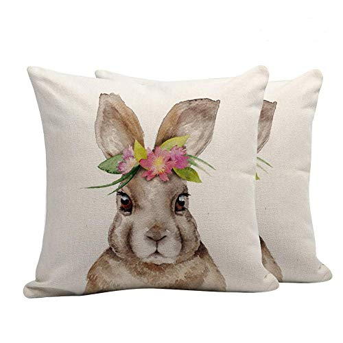 Volcanics Easter Rabbit Throw Pillow Cover Case Cushion Easter Decor Home Decorations Cotton Linen 18 x 18 Inch (Bunny) 2 PCS