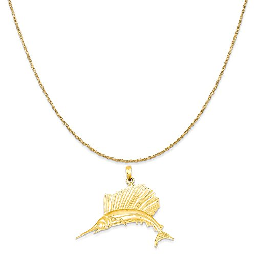 old Polished Sailfish Pendant on a 14K Yellow Gold Rope Chain Necklace, 16