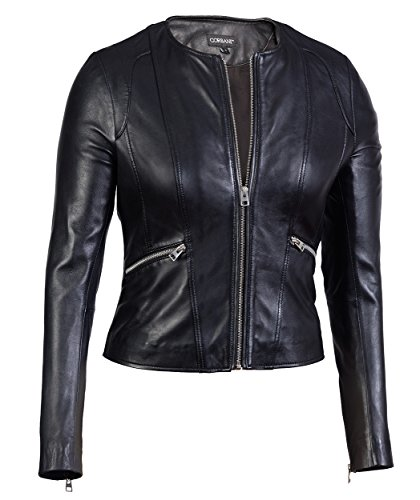 Womens Collarless Round Neck Black Genuine Leather Jacket – Lambskin (XX-Large) -