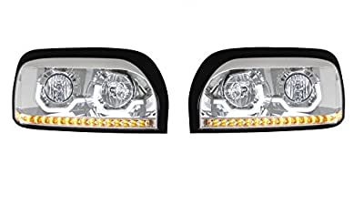 CPW (tm) 1996-2009 Freightliner Century Chrome Dual Halo LED Headlights - New Pair