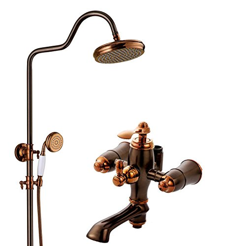 A Package Hlluya Professional Sink Mixer Tap Kitchen Faucet Antique pink gold rain shower faucet Package C